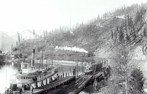 Paddlewheeler S.S. Slocan docked on Slocan Lake, circa 1900