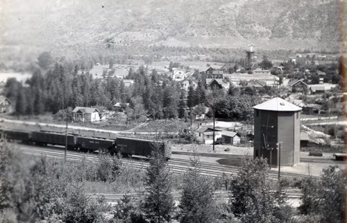Castlegar, railroad and town water tower, 1935