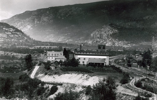 Jam factory, C.P.R. station and railway spurs at Brilliant, circa 1920s