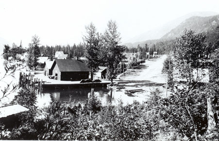 General view of Silverton, B.C. from Slocan Lake, circa 1920