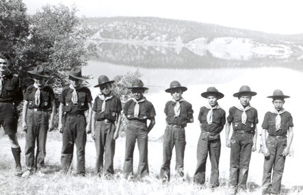 Windermere Boy Scout camp posed in front of Lake Windermere, 1947