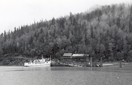 Beaton Wharf and the boat used between Arrowhead and Beaton, circa 1955