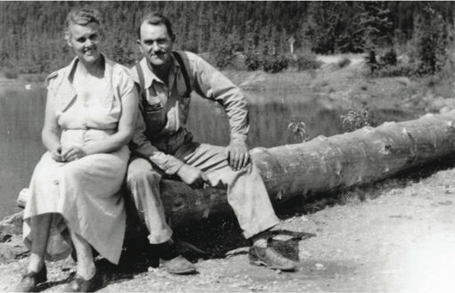 Mr. and Mrs. Sutton at the Kinbasket Lake Resort, 1954