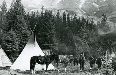 Ktunaxa horses and tipis in the East Kootenay.