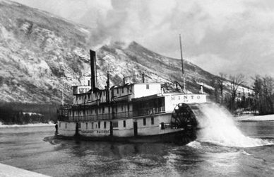 SS Minto in the Narrows between Upper and Lower Arrow Lakes. Circa 1950s